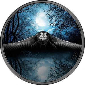 2017 Ivory Coast 3 Ounce Night Hunters Owl Colored Silver Proof Coin