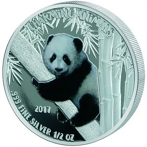 2017 Benin .5 Ounce Charming Animals Panda Colored Silver Coin