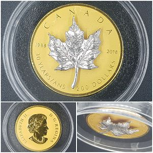 Auction #116 - 2018 $200 30th Anniversary Of The Silver Maple Leaf - Pure Gold Coin 1oz
